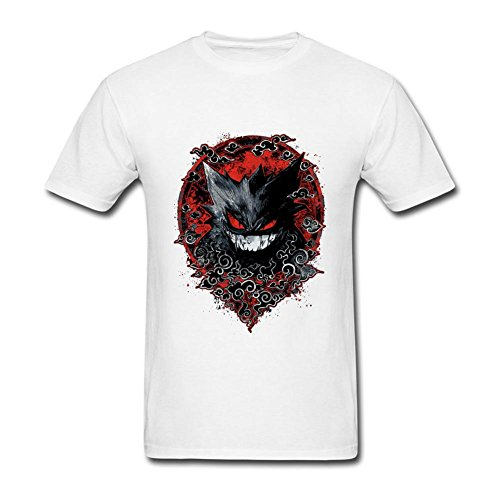 FQYPMC Man 100% Cotton Pokemon Gengar Red Shadow Tshirts White L