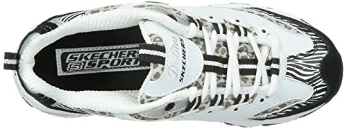 Skechers D'LitesCentennial - Zapatillas de material sintético mujer White/Black/Animal Print