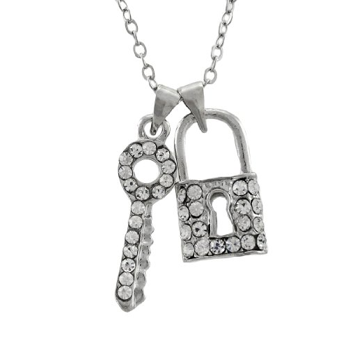 Things2die4 Metal Pendant Necklaces Dainty Rhinestone Lock And Key Necklace Silver