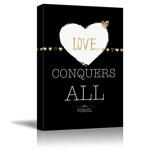 wall26 - Black and White with Gold Quote - Love Conquers All by Virgil - Canvas Art Home Decor - 12x18 inches ()