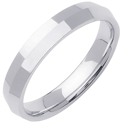 18K White Gold Traditional Knife Edge Men's Comfort Fit Wedding Band (4mm) Size-15c1