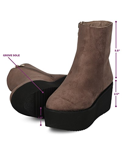 Women Bootie Creeper Platform Party Taupe Dancing Trendy Wedge Boot Hebe Suede Bootie Costume I Platform Cosplay Faux Ankle Indulge fwFqExtXt