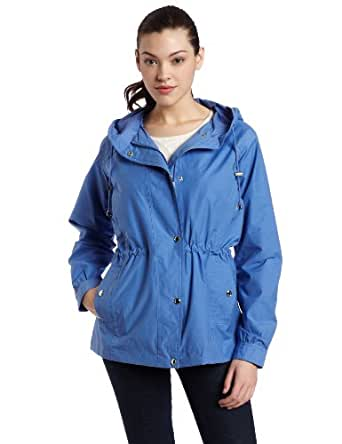 Larry Levine Women's Anorak Jacket, Blue, Medium
