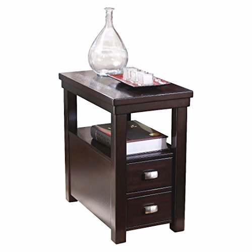 Contemporary Narrow Nightstand Wooden Espresso Wenge Chair Side End Table with 2-Storage Drawer - Includes Modhaus Living Pen