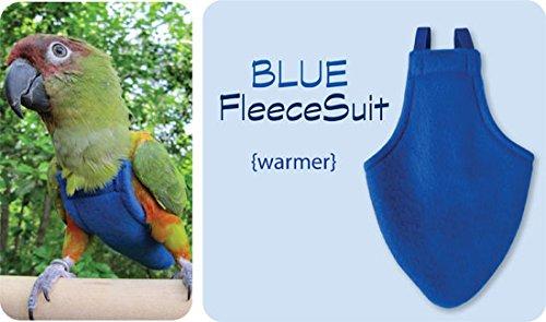 X-Wide FlightSuit (Bird Diaper) w/AnchorLine plus Flightliners (Blue Fleece) (Flight Suit For Birds)