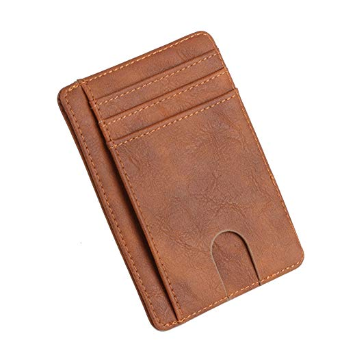 BLGoods RFID Security Sleeve Mini Card Holder,ID Bus Card Cover, Durable Slim Wallet,Anti-magnetic Anti-wear Card Package, Preventing Scanning RFID (brown) (Pay Off Credit Card Debt Fast Calculator)