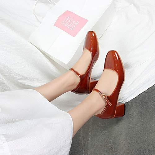 Talon Boucle Rond Moyen Femme Escarpins Bout Vintage Padgene Rouge Chaussure waxIYEqf