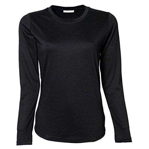 Tee Jays- Camiseta de manga larga para mujer Negro