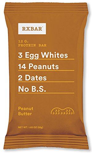 All Natural Whole Food Bar (RXBAR Whole Food Protein Bar, Peanut Butter, 1.83 Ounce (Pack of 12))