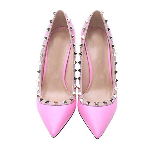 Arc-en-ciel zapatos de las mujeres del dedo del pie en punta tachonadas bombas de tacón alto, Pink, 45
