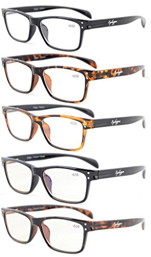 Eyekepper 5-Pack Quality Spring-Hinges Sport Style Reading Glasses Include 2 Computer Glasses ()