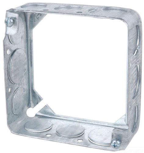 Steel City 53151 1/2 3/4 Pre-Galvanized Steel Square Box Extension Ring with 1/2-Inch and 3/4-Inch Knockouts