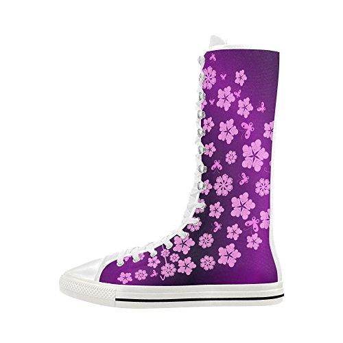 D-histoire Fleurs Roses Lacent Haut Punk Toile De Danse Longues Bottes Sneakers Chaussures Pour Femmes