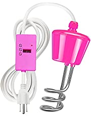 Immersion Heater with Timer, Household Stainless Steel Suspension Immersion Electric Water Heater, High Power Water Heating Rod With Temperature Tester, for Bath Tub Swimming Pool,Pink,2000W