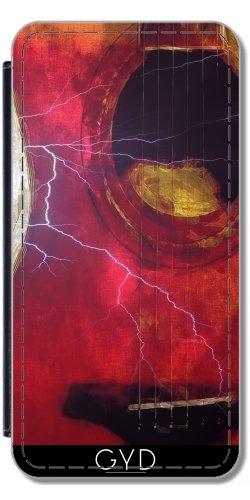 Leder Flip Case Tasche Hülle für Apple Iphone 7 Plus / 8 Plus - Gitarre Blitz by J McCool