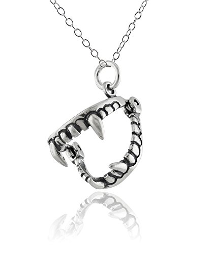 (Sterling Silver 3D Movable Fangs Charm Pendant Necklace, 18 Inch Chain)