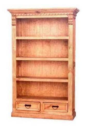 Western Pine Bookcase (Rustic Pine Four Shelf Bookcase With Trim, Western)