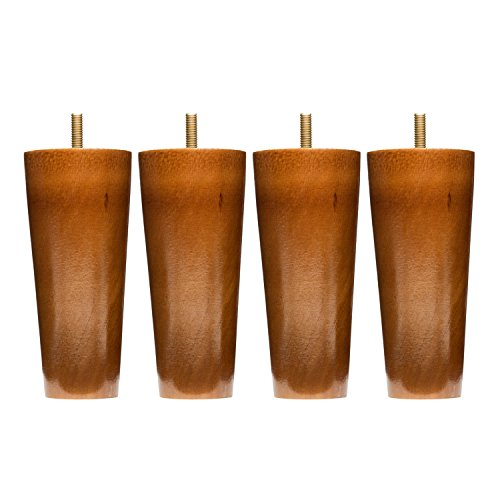 Sofa Legs Set Of 4, Round 5 Inch Replacement Solid Wood Furniture Leg Extenders for Sofa, Couch and Chair