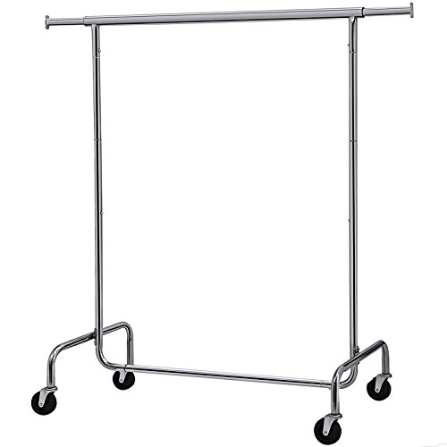 Easy Put Together Costumes (SONGMICS Clothes Garment Rack Heavy Duty Maximum Capacity 300 lb Clothing Rack on Wheels All Metal Chrome Extendable)