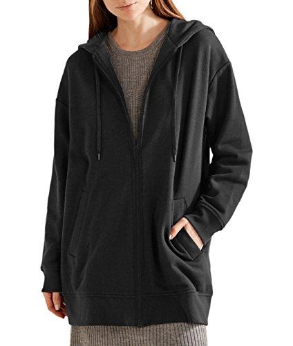 NUTEXROL Women's Casual Zip up Hoodies Pockets Tunic Sweatshirt Long Hoodie Outerwear Jacket (Black,M) (Uk Jumpers H&m Christmas)