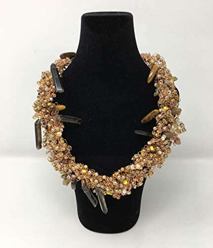 (Wire Crochet Necklace - Tawny Glass Seed Beads, Smokey Quartz Points, with Magnetic Clasp)