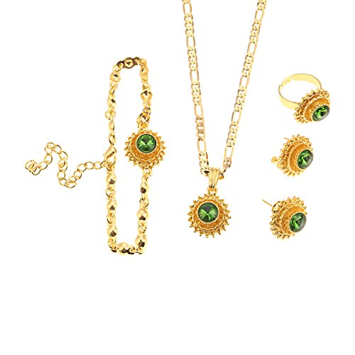 Flower Jewelry Set Ethiopian Gold Jewelry Sets Earrings Pendant Ring with Stone African Habesha Nigeria Jewelry (Green)