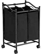 SONGMICS 2-Bag Rolling Laundry Sorter, Laundry Basket on Wheels, Hamper with Removable Bags, Total Capacity 90L, Black LSF002BK