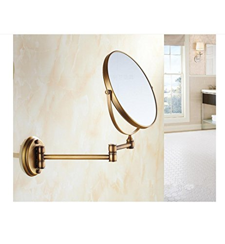 8inch European-style round gold-plated bathroom beauty mirror antique make-up mirror wall telescopic folding bathroom mirror - chrome 3X magnifying glass , B