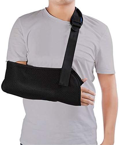 Arm Sling Schulterstütze Universal Unisex Sling Einstellbar weich gepolsterter Schultergurt für Erwachsene Unisex schwarz