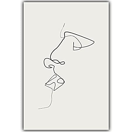 HYGG Kiss Picasso Simple Line Curve Black White Abstract Canvas Painting Art Print Poster Picture Wall