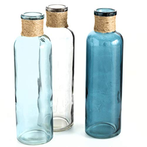 WHW Whole House Worlds Beach Chic Rope Topped Vases, Set of 3, Jute and Lacquered Glass, Blue, Turquoise and Clear, 8 3/4 Inches Tall