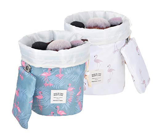 Vercord Barrel Shaped Printed Travel Makeup Cosmetics Toiletry Shaving Bathroom Toilety Carry Portable Bag Kit Storage Organizer Bucket Waterproof Drawstring, 2 Set Flamingo