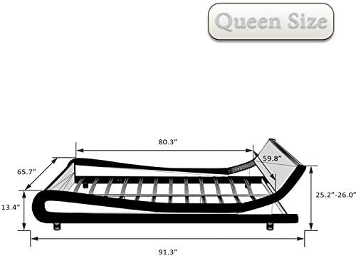 Amolife Upholstered Queen Bed Frame/Deluxe Solid Modern Platform Bed/Mattress Foundation/Faux Leather Queen Size Bed Frame with Adjustable Headboard and Slat Support, Black