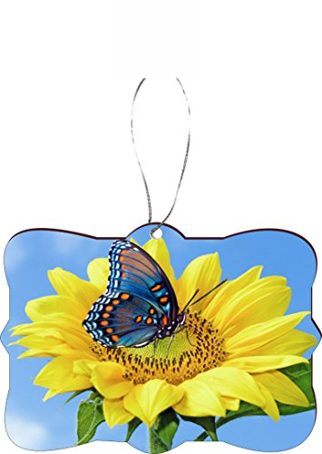 Rikki Knight Christmas Tree Ornament/Car Rear View Mirror Hanger Blue Butterfly on Sunflower Design