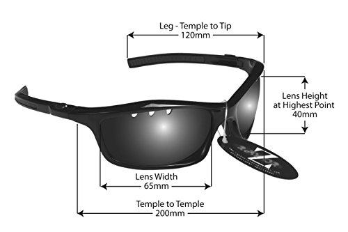 RayZor Professional léger de Cricket de Sport Noir UV400Lunettes de soleil, avec un objectif Miroir Bleu aérés en iridium anti-reflets