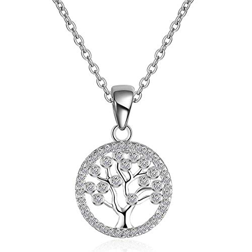 iCKER Sterling Silver Family Tree of Life Pendant Necklace - Fashion Jewelry for Women and Girls, Personalized Gift 1MM Cable Chains Necklace (1mm Cable Chain Necklace)