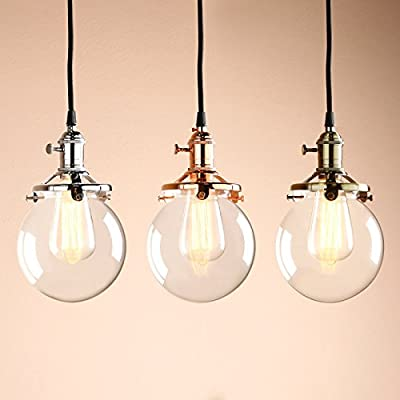 "Permo Vintage Industrial Pendant Light Fixture Mini 5.9"" Round Clear Glass Globe Hand Blown Shade"