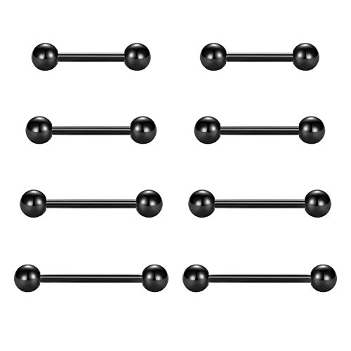 vcmart Nipple Rings Tongue Rings Stainless Steel Straight 14G Barbells Piercing Jewelry Black 12mm,14mm,16mm,18mm