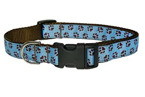Sassy Dog Wear 18-28-Inch Blue/Brown Puppy Paws Dog Collar, Large