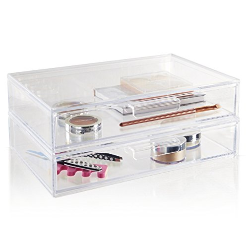STORi 2-Pack Premium Quality Large Stackable Cosmetic Storage and Makeup Palette Organizer Drawer | Audrey Collection