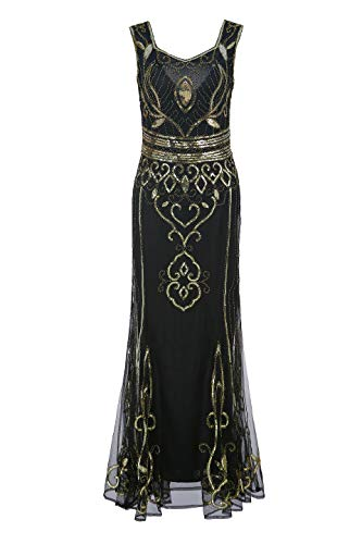 (Metme Sequin Beaded Long Dresses, Gatsby Theme Party Night Sexy Women Flapper Dress)