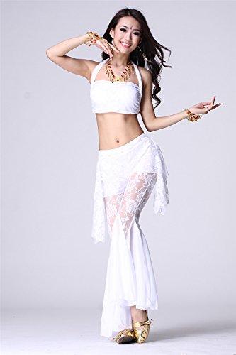 Danza del vientre Disfraz Set Sling Lace Top+Exotic Wide Leg Pantalones White
