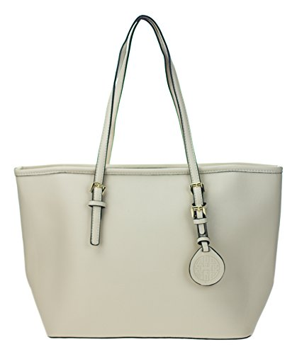 Canal Collection Faux Saffiano Classic Design Travel Tote with Logo Tag (Beige)