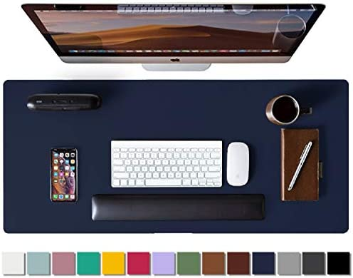 Leather Desk Pad Protector,Mouse Pad,Office Desk Mat,Non-Slip PU Leather Desk Blotter,Laptop Desk Pad,Waterproof Desk Writing Pad for Office and Home(Dark Blue,31.5″ x 15.7″)