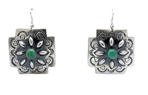 Rita Lee, Earrings, French Hook, Crosses, Turquoise, Navajo Handmade, 1.5 (Hook French Cross Earrings)