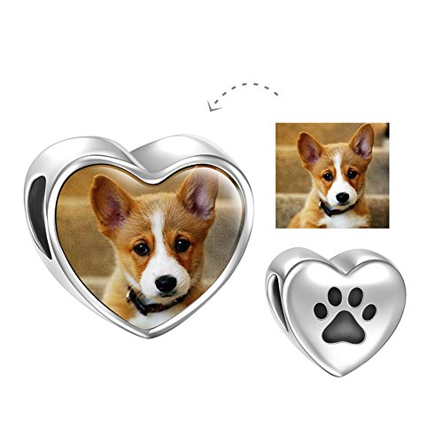 SOUFEEL Personalized Pet Dog Photo Charms 925 Sterling Silver Heart Bead Charm for Bracelets (Dog Theme Charm Bracelet)
