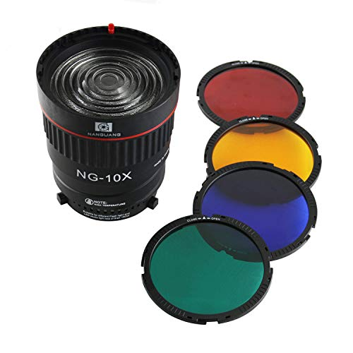 - EXMAX NG-10X Fresnel Lens Focusing Adapter Lens kit for Bowens-fit Lights 10X Studio Light Focus Mount Lens Adjust for Flash & Studio LED Light with 4 Color Filters