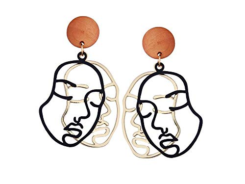 Portrait Face Earrings Dangle Statement Minimal Hollow Human Face Abstract Style Jewelry (Black) ()