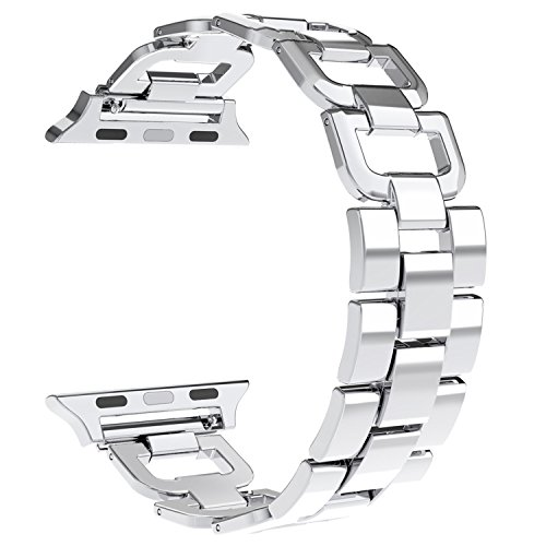 5 Vintage Watch (Wearlizer Bands for Apple Watch Band 38mm Womens Mens Stainless Steel Metal Replacement Wristband Sport Strap D Type for iWatch Nike+, Series 3 2 1, Edition, 3 Colors Available)