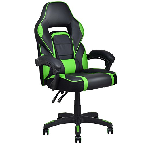 Giantex Gaming Chair Race High Back Reclining Chair Office Swivel Computer Task Desk Chair (Green) by Giantex